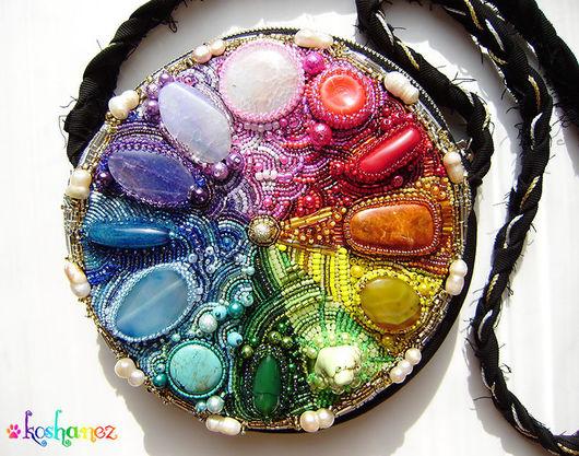 """Женские сумки ручной работы. Ярмарка Мастеров - ручная работа. Купить сумочка """"Mandala"""". Handmade. Вышивка бисером, сумочка, радуга"""