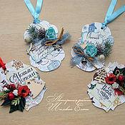 Открытки ручной работы. Ярмарка Мастеров - ручная работа серия новогодних бирочек для подарков (мини-открытки). Handmade.
