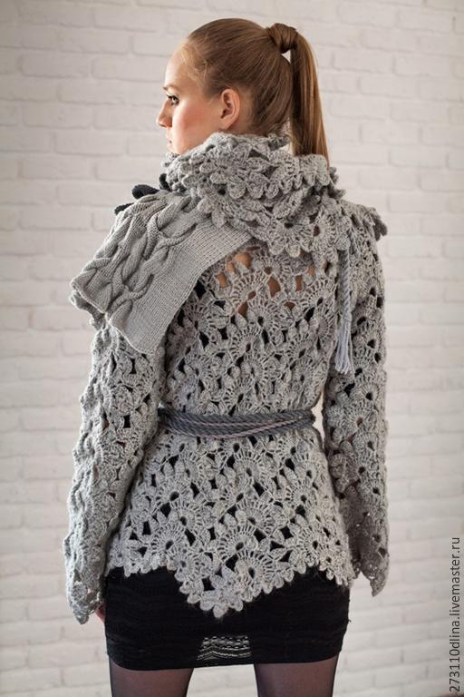 Серый пуловер с косами доставка