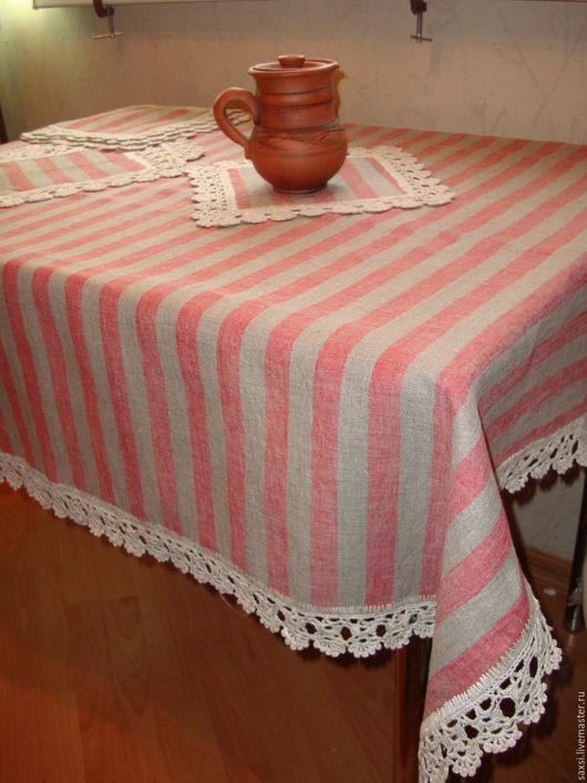 Быт ручной работы. Ярмарка Мастеров - ручная работа. Купить Льняная скатерть с  кружевом ручной работы. Handmade. Скатерть