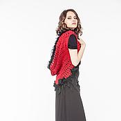 Одежда ручной работы. Ярмарка Мастеров - ручная работа АГ_024 Кардиган-накидка без рукавов красный с черными рюшами. Handmade.