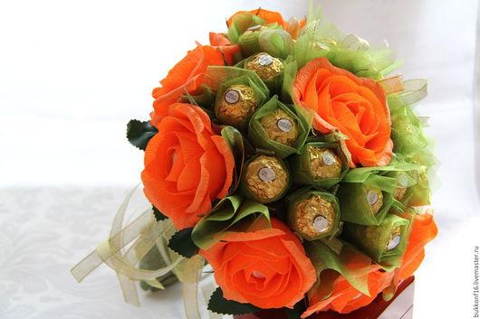 """Букеты ручной работы. Ярмарка Мастеров - ручная работа. Купить Букет из конфет """"Оранжевый"""". Handmade. Оранжевый, подарок на любой случай"""