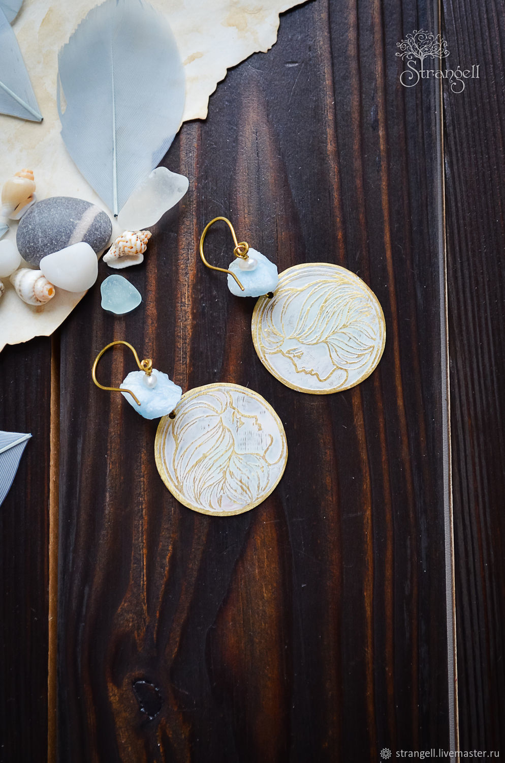 Round boho earrings with aquamarine and pearl Brass earrings with face, Earrings, Ulan-Ude,  Фото №1