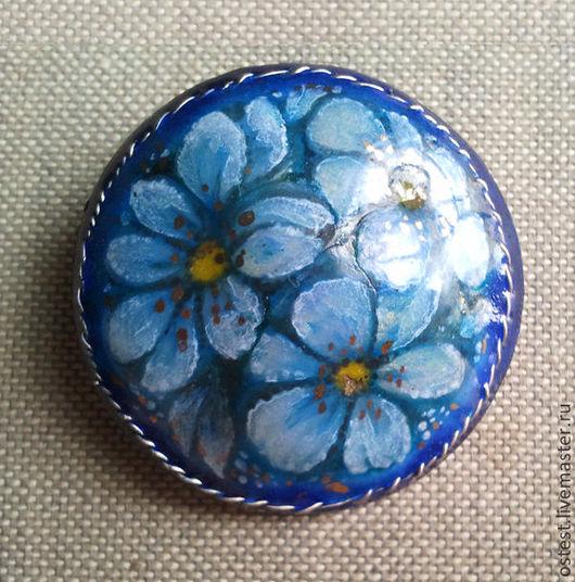 """Броши ручной работы. Ярмарка Мастеров - ручная работа. Купить Брошь """"Голубые цветы"""". Handmade. Голубой, Горячая эмаль"""