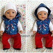 Куклы и игрушки ручной работы. Ярмарка Мастеров - ручная работа Осенний комплект: жилетка и штанишки для куклы беби бон. Handmade.