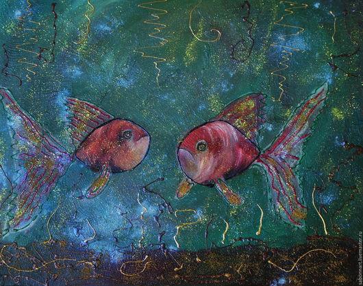 Абстракция ручной работы. Ярмарка Мастеров - ручная работа. Купить Рыбки. Handmade. Комбинированный, абстракция
