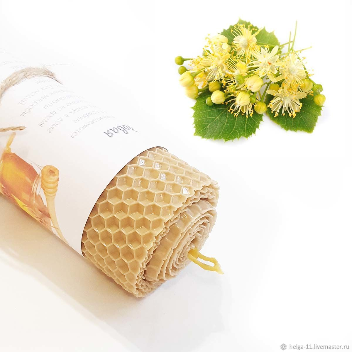 Honey - Cream candle with lime 13h4,7,  cm, Candles, St. Petersburg,  Фото №1