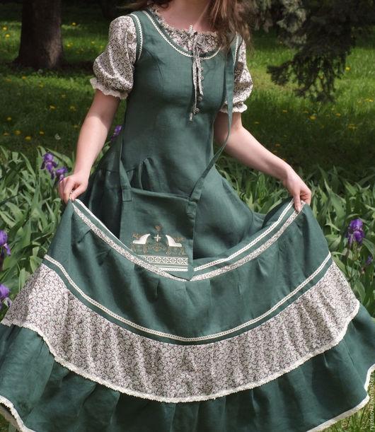 Платья ручной работы. Ярмарка Мастеров - ручная работа. Купить Платье Арника (зеленое). Handmade. Комбинированный, славянка, женственность