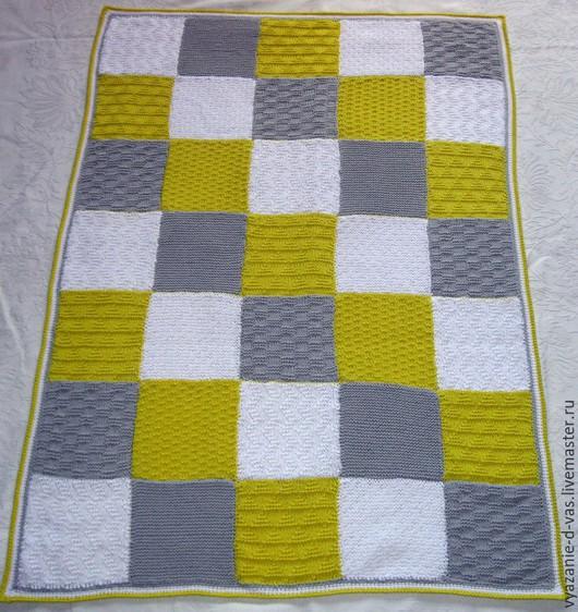Текстиль, ковры ручной работы. Ярмарка Мастеров - ручная работа. Купить Плед детский вязаный  из цветных мотивов. Handmade. покрывало