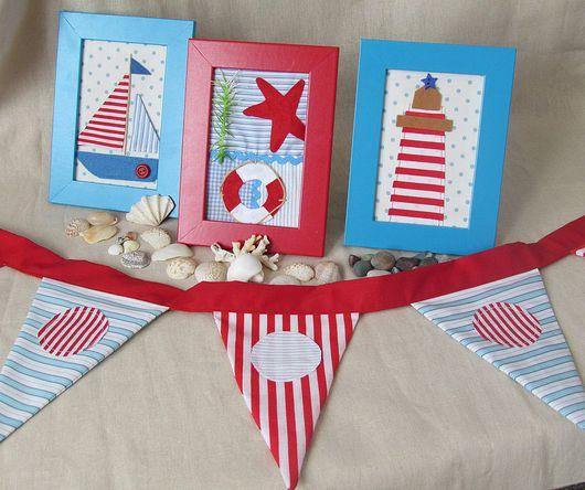 Детская ручной работы. Ярмарка Мастеров - ручная работа. Купить Морской набор для мальчика. Handmade. Картина, детская, синий