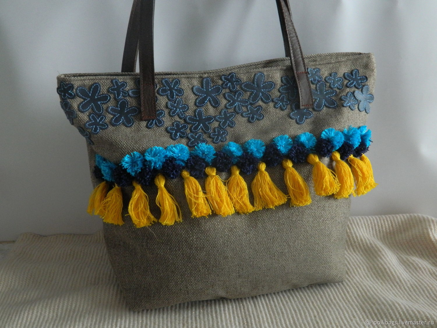 Textile Beach Bag With Pom Poms And Tassels Blue Shop Online On
