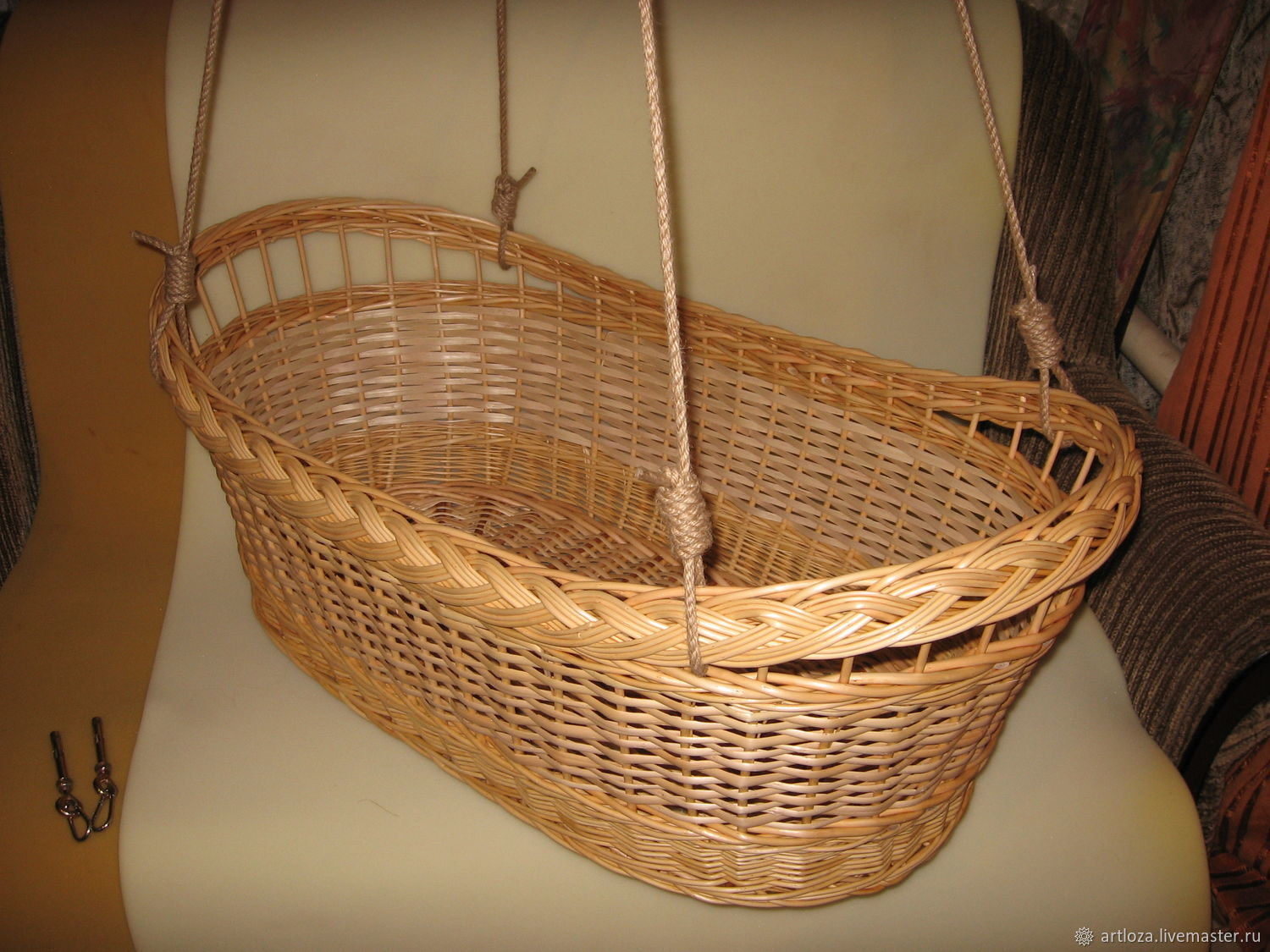 """Колыбель """"Модерн"""" подвесная для новорожденных из лозы, зыбка, Комплект для выписки, Тамбов,  Фото №1"""
