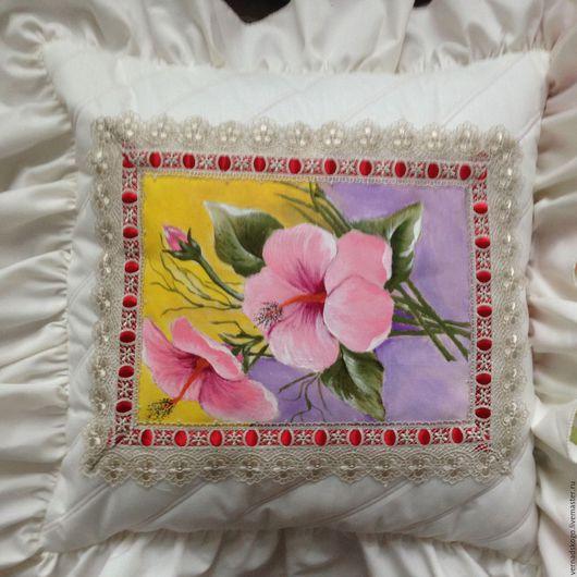 Текстиль, ковры ручной работы. Ярмарка Мастеров - ручная работа. Купить подушка декоративная ручная роспись. Handmade. Бежевый, цветы