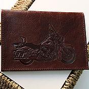 Канцелярские товары ручной работы. Ярмарка Мастеров - ручная работа Мотоцикл. Кожаная обложка на паспорт. Handmade.