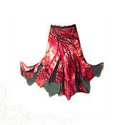 Одежда handmade. Livemaster - original item Skirt long Bright print leopard abstract red-black Silk chiffon. Handmade.