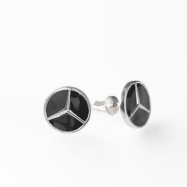 Украшения ручной работы. Ярмарка Мастеров - ручная работа Mercedes, серьги с закрутками из серебра с эмалью мерседес. Handmade.