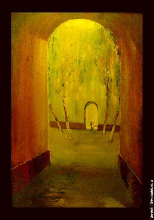 """Пейзаж ручной работы. Ярмарка Мастеров - ручная работа. Купить """"Двое в городе"""". Handmade. Желтый, картина, картина маслом"""