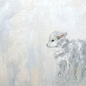 Картины и панно handmade. Livemaster - original item Lamb oil painting 50h60 cm. Handmade.