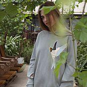 Платья ручной работы. Ярмарка Мастеров - ручная работа Платье трикотажное с птицей.. Handmade.