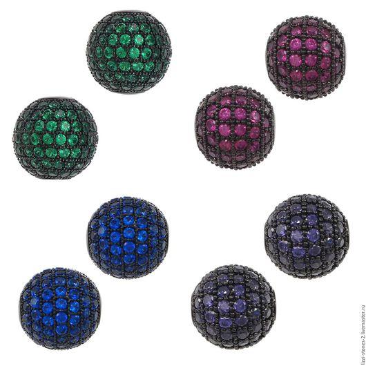 Бусина шар черная с цветными кристаллами 8,10 мм 4 цвета (Milano) Евгения (Lizzi-stones-2)