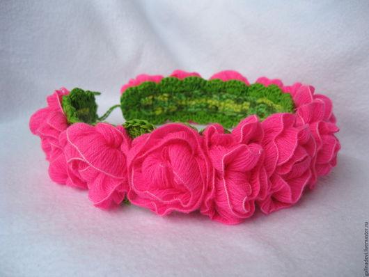 """Детская бижутерия ручной работы. Ярмарка Мастеров - ручная работа. Купить ВЕНОК, повязка для волос """"Neon roses"""" вязаный. Handmade."""