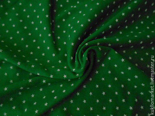 """Шитье ручной работы. Ярмарка Мастеров - ручная работа. Купить Кулирка трикотаж """" Звездочки  на зеленом"""". Handmade. Разноцветный, интерлок"""