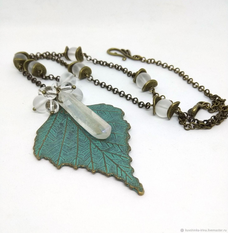 Pendant 'Birch leaf with crystal', Pendants, St. Petersburg,  Фото №1