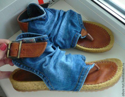 Обувь ручной работы. Ярмарка Мастеров - ручная работа. Купить Джинсовые женские вьетнaмки сaндaлии  кожaнные 36,37,38,39,40 Киев. Handmade.