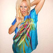 Одежда ручной работы. Ярмарка Мастеров - ручная работа блуза-кимоно-  Тропикана, Пейзаж(Кандинский). Handmade.