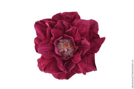"""Цветы ручной работы. Ярмарка Мастеров - ручная работа. Купить Цветы из кожи. Роза """"Малинка"""". Handmade. Фуксия, брошь"""
