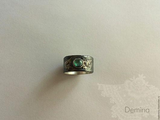 Кольца ручной работы. Ярмарка Мастеров - ручная работа. Купить Кованое кольцо с турмалином (серебро, золото, размер 16.8-17). Handmade.