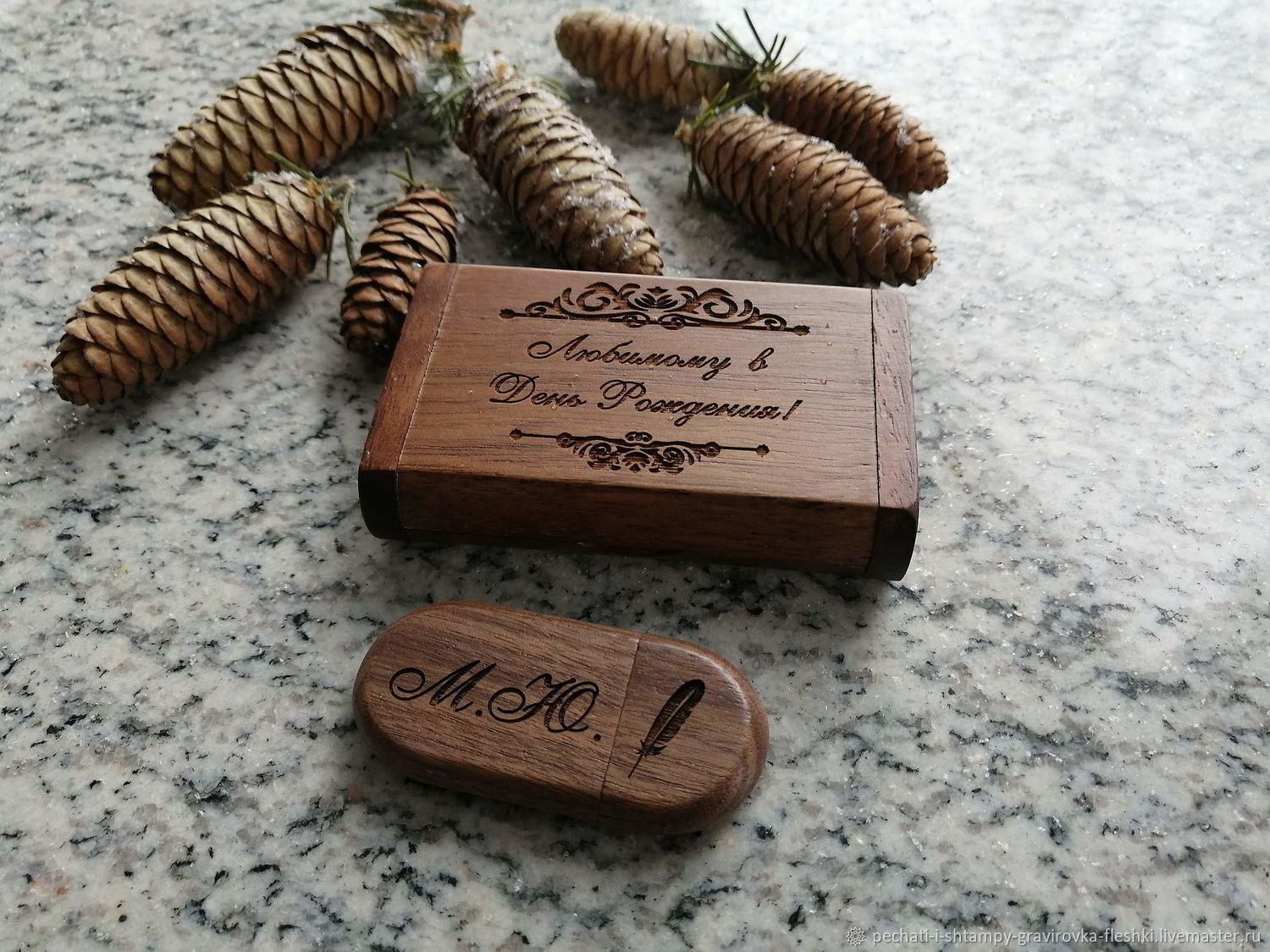 Wooden flash drive with engraving in a box, souvenir, gift, Flash drives, Barnaul,  Фото №1