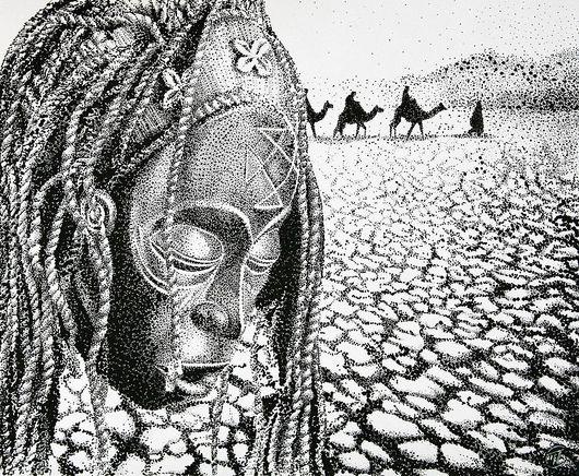 Этно ручной работы. Ярмарка Мастеров - ручная работа. Купить сны об Африке. Handmade. Чёрно-белый, графика