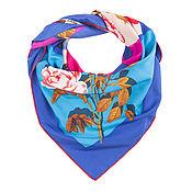 Материалы для творчества handmade. Livemaster - original item Satin scarf with print. 90 by 90 cm. blue. Handmade.