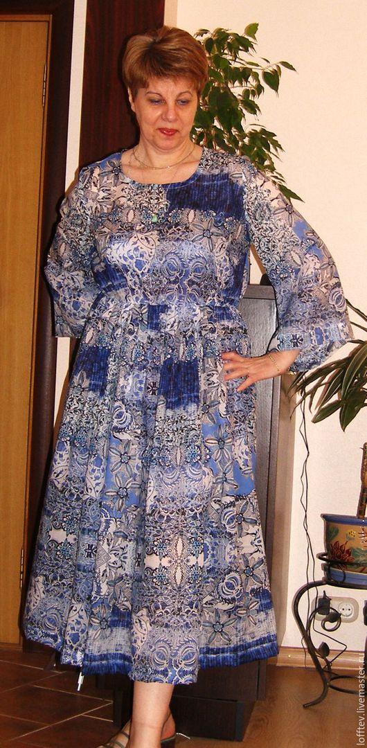 Платья ручной работы. Ярмарка Мастеров - ручная работа. Купить Платье летнее батистовое хлопок. Handmade. Голубой, большие размеры