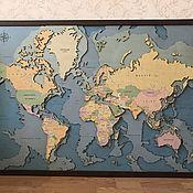"""Панно ручной работы. Ярмарка Мастеров - ручная работа Панно """"Карта мира"""" 60х90см без сборки. Handmade."""