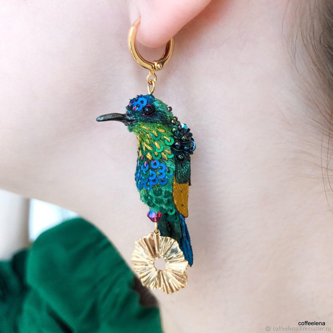 Asymmetric earrings with hummingbirds ' Cornflower field', Earrings, Krasnodar,  Фото №1