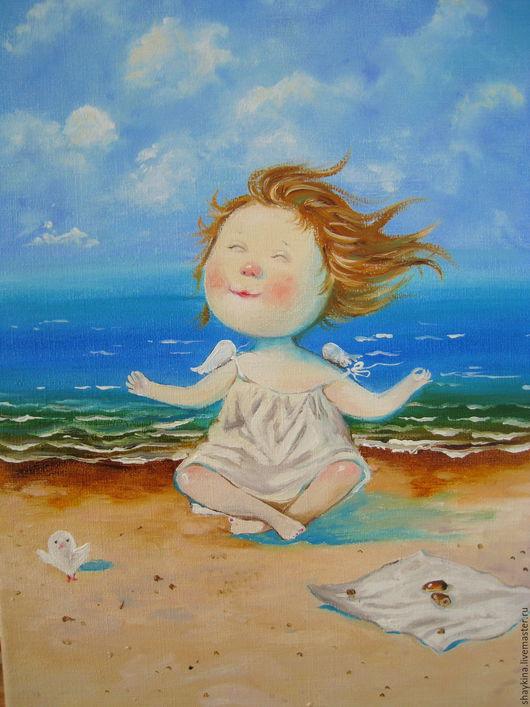 """Юмор ручной работы. Ярмарка Мастеров - ручная работа. Купить Картина маслом .  """"Йога""""  Е. Гапчинская. Handmade. Картина, ангелы"""
