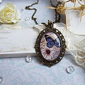 Pendants handmade. Livemaster - original item Vintage blue butterfly Pendant Brass Vintage No. №4. Handmade.