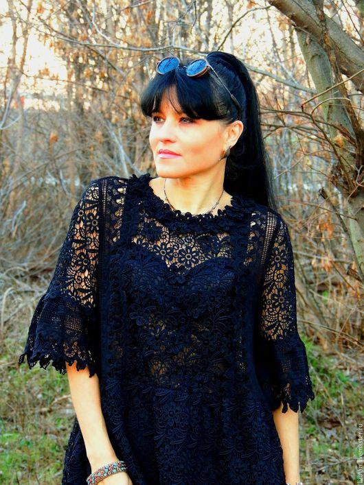 Платья ручной работы. Ярмарка Мастеров - ручная работа. Купить Черное БОХО платье из гипюра и батиста (№6). Handmade. Черный
