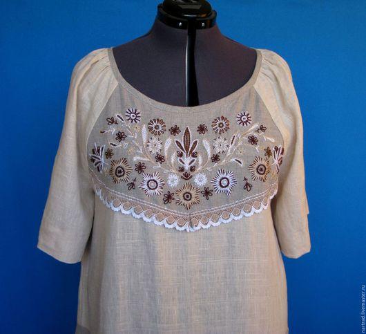 Платья ручной работы. Ярмарка Мастеров - ручная работа. Купить Льняное платье с вышивкой. Handmade. Бежевый, платье с вышивкой