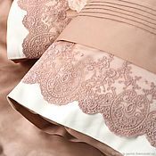 handmade. Livemaster - original item Satin bed linen with lace -