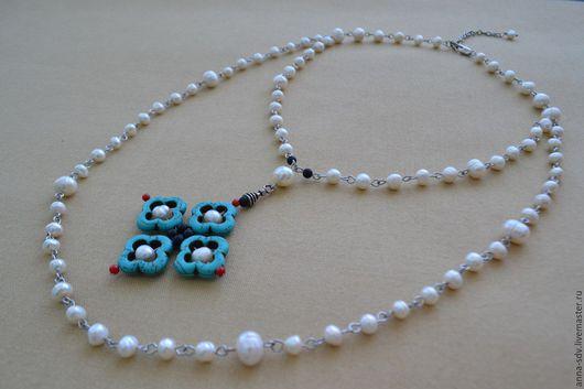 """Колье, бусы ручной работы. Ярмарка Мастеров - ручная работа. Купить Ожерелье """"Северный крест"""". Handmade. Ожерелье из камней"""