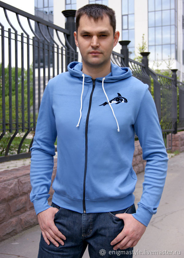 Men's hooded t-shirt, blue long-sleeve t-shirt, T-shirts mens shirts, Novosibirsk,  Фото №1