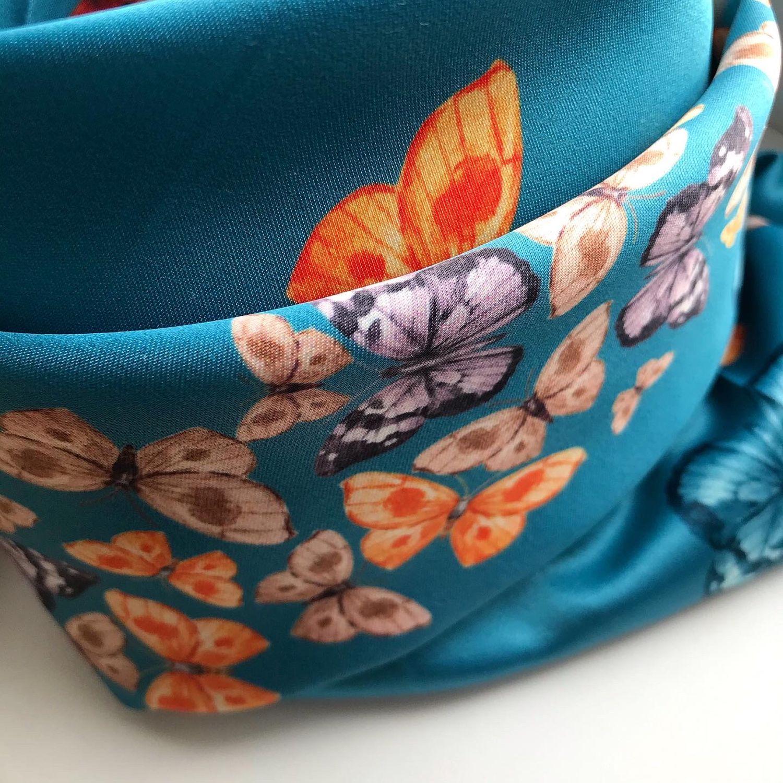 """Тёмно-бирюзовый платок из ткани Alexander McQUEEN """"Бабочки"""", Палантины, Санкт-Петербург,  Фото №1"""