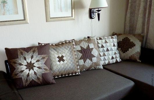 Текстиль, ковры ручной работы. Ярмарка Мастеров - ручная работа. Купить Диванные подушки. Handmade. Коричневый, хлопок