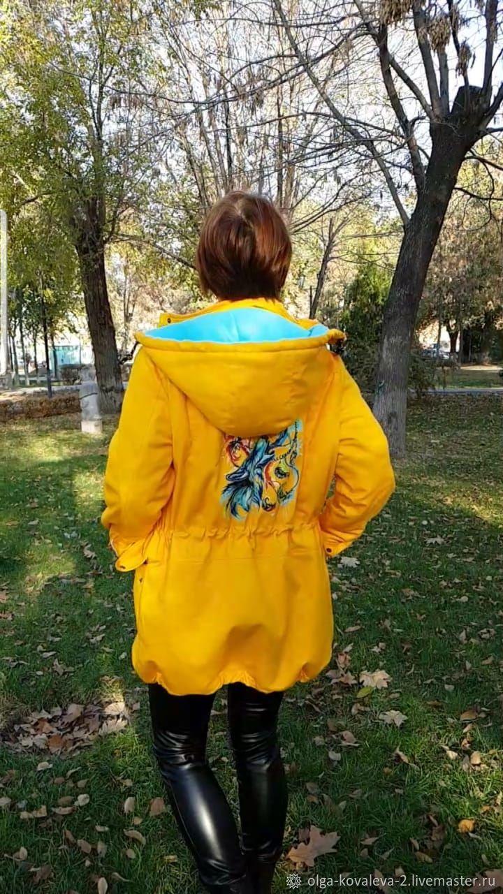 Парка 2 в 1 со слинговставкой желтая с принтом Лиса, Парки, Астрахань,  Фото №1