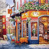 """Картины и панно ручной работы. Ярмарка Мастеров - ручная работа Вышитая картина""""Европейское бистро"""". Handmade."""