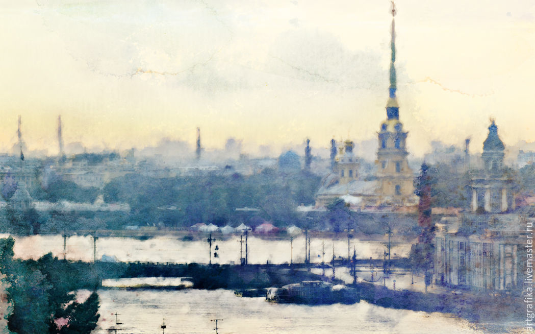 the watercolors White night in St. Petersburg
