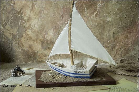 """Статуэтки ручной работы. Ярмарка Мастеров - ручная работа. Купить Мини-скульптура лодка """"В путь!"""". Handmade. Голубой, бежевый"""